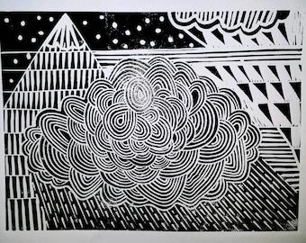 Mountains and rain mid century scandi inspired lino print. Handcut and handprinted  art.