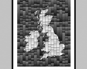 British Isles Map Glasa - a map of the British Isles art print - wall decor - uk great britain ireland map print - poster - map art print