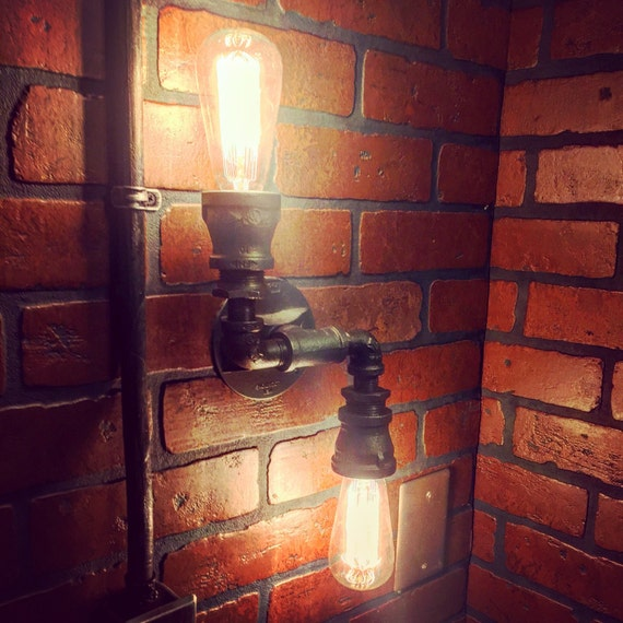 Steampunk Industrial Double 2 directional wall sconce light