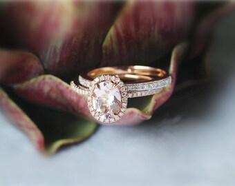 6x8mm 14K Rose Gold  Morganite Ring Set Bridal Wedding Ring Set Half Eternity Ring Matching Wedding Ring Diamonds Ring Set
