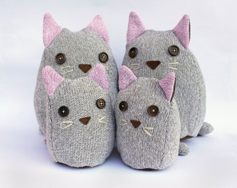 Plush Cat Family from Recycled Sweater
