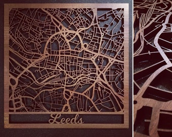 Intricately Laser Cut Walnut Veneered Leeds Map Wall Art