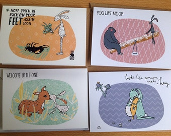 A set of 4 greeting cards with