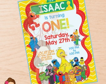 Sesame Street, Elmo, Sesame Street invitation, Elmo invitation, Sesame Street party, Sesame Street birthday, Elmo party, Elmo birthday