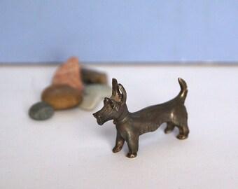 Scandinavian European Vintage Item / Pewter Scottish Terrier Figurine, Scottie Scotty Dog Figurine,