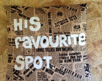 His Favourite Spot - Appliqué Cushion Cover