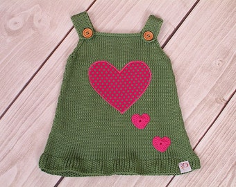 Baby dress knitting dress heart retro