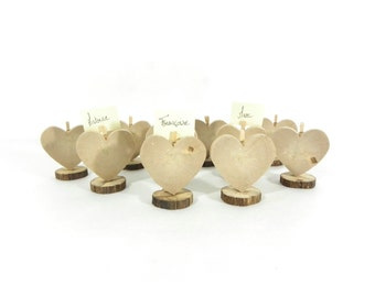 Wedding decoration, set of ten brands place 'heart' natural solid wood
