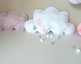 two cushions clouds blotting pink satin and Liberty Betsy