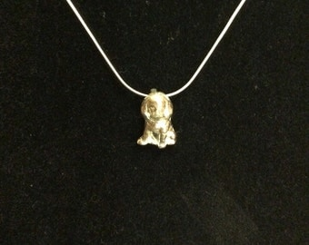 Silver puppy  charm necklace