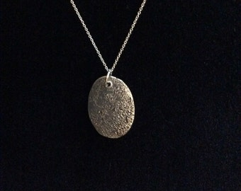 Precious metal clay silver oval pendant necklace