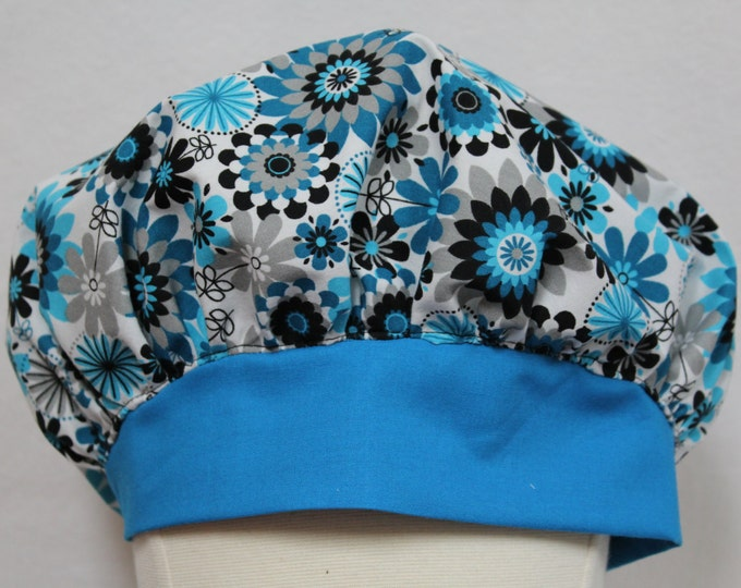 Surgical scrub caps, Surgical scrub hats, Turquoise blue scrub hats, Grey and yellow scrub caps