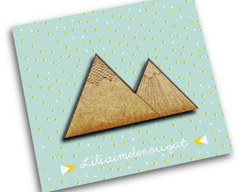 Brooch jewelry-mountains in wood and metal-engraving and cutting laser - original gift for girls