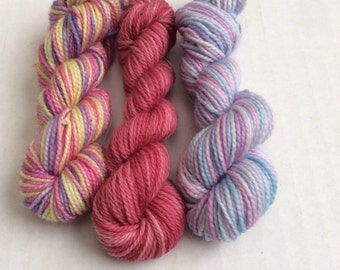 Hand dyed mini skeins of yarns, sock yarn in mini skeins of super wash merino yarn, set of 3 miniskeins