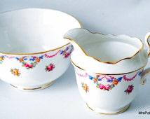 Wonderful Royal Stafford Fine Bone China Creamer and Sugar Bowl Set, c 1920 s