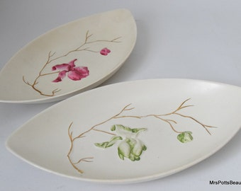 Very Pretty Carltonware Candy Plates, Hand Painted Floral Decor with Golden Branches, c 1950 s