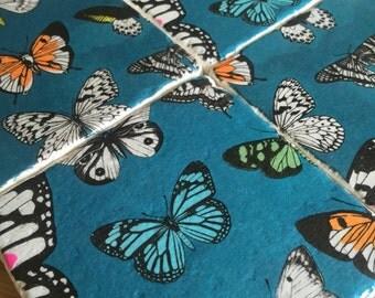 Tile Coasters - Teal Butterflies