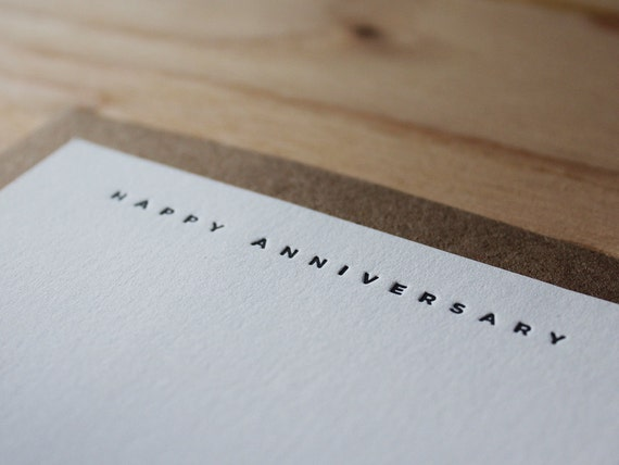 Happy Anniversary - Letterpress Flat Greeting Card / Note Card / Love Card / Occassion Card / Loving Sentiment