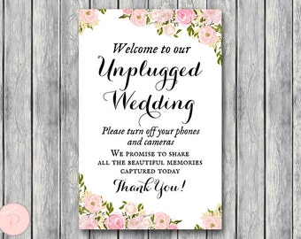 Unplugged Wedding Sign, Unplugged Ceremony Sign, Printable Wedding Sign, Printable sign, Wedding decoration sign wd67 Sign TH18