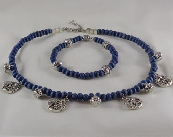 Koi and Lotus Silver Choker with Blue Wooden Beads and Bracelet