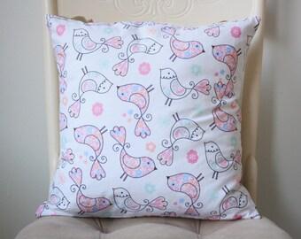 Birds pillow cover - Birds nursery decor - Pink cushion cover
