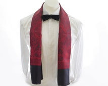 Mens Rayon Opera Scarf with Wool Reverse // 1960s Gentleman's Dress Evening Scarf // Classic Mens Red and Navy Scarf
