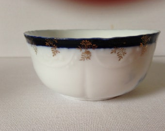 Antique Sugar Bowl, Porcelain Sugar Bowl, Flow Blue Sugar Bowl, Antique Porcelain Bowl, Edwardian China, Flow Blue China, Ceramic Sugar Pot