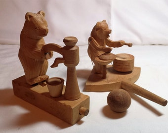 USSR hand-carved wooden toys with moving parts, Animated bears drumming & pumping water, Russian