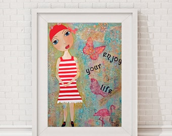 "Poster ""ENJOY YOUR LIFE"", Giclee Art Print, Poster, uplifting words, text, typography,  reproduction of the original painting, red turquoise"