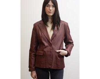 Vintage Oxblood Leather Blazer 1990s 90s Burgundy Leather Coat w/ Pockets Minimalist Leather Jacket M Md Medium