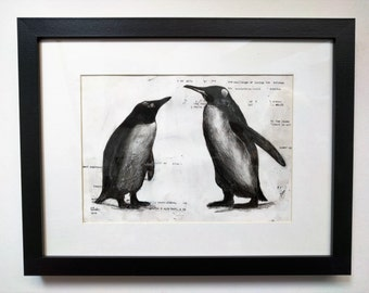 A4 Charcoal Mixed Media Penguin Framed Painting Artwork