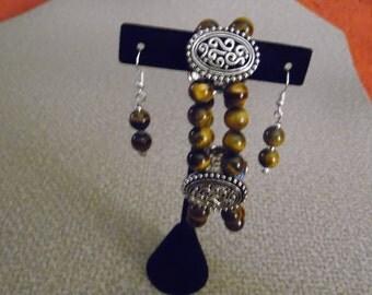 Tiger Eye bracelet and earrings