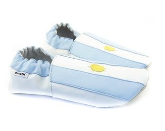 Soft leather slippers - ARGENTINA flag
