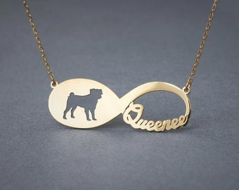 14k Solid Gold Personalised INFINITY PUG Necklace - 14k Gold Pug Necklace - Name Necklace