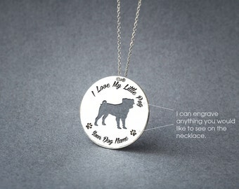 Personalised DISK PUG Necklace / Circle dog breed Necklace / Pug Dog necklace / Silver, Gold Plated or Rose Plated.