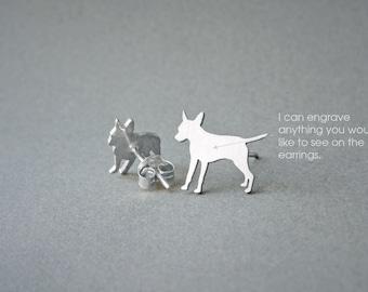 PINSCHER NAME Earring - Pinscher Name Earrings - Personalised Earrings - Dog Breed Earrings - Dog Earring