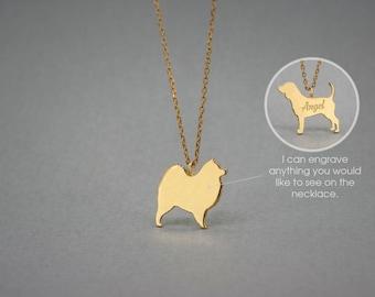 14K Solid GOLD Tiny SAMOYED Name Necklace - Samoyed Necklace - Gold Dog Necklace - 14K Gold or Rose Plated on 14k Gold Necklace