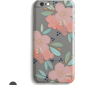 Clear Flower iPhone Case, Transparent Case iPhone 6s, Flower iphone 6 Clear Case, Flower iPhone 6 Case clear transparent, iPhone 6 plus case
