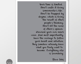 Steve Jobs quote: Your TIME IS LIMITED. Don't waste it living someoneelse's life, printable wall art poster, instant download, digital print