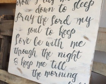 Now I Lay Me Down To Sleep prayer. A TOP SELLER!  wood sign. Made with Plywood NO Frame. Nursery room decor prayer.
