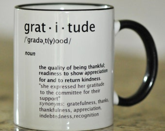 Motivational Gratitude Definition Ceramic Coffee Cup