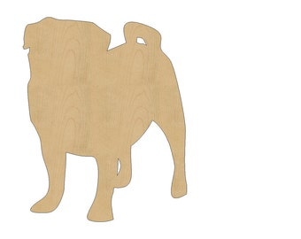 Pug Dog Cutout Shape Laser Cut Unfinished Wood Shapes, Craft Shapes, Gift Tags, Ornaments #791 All Sizes