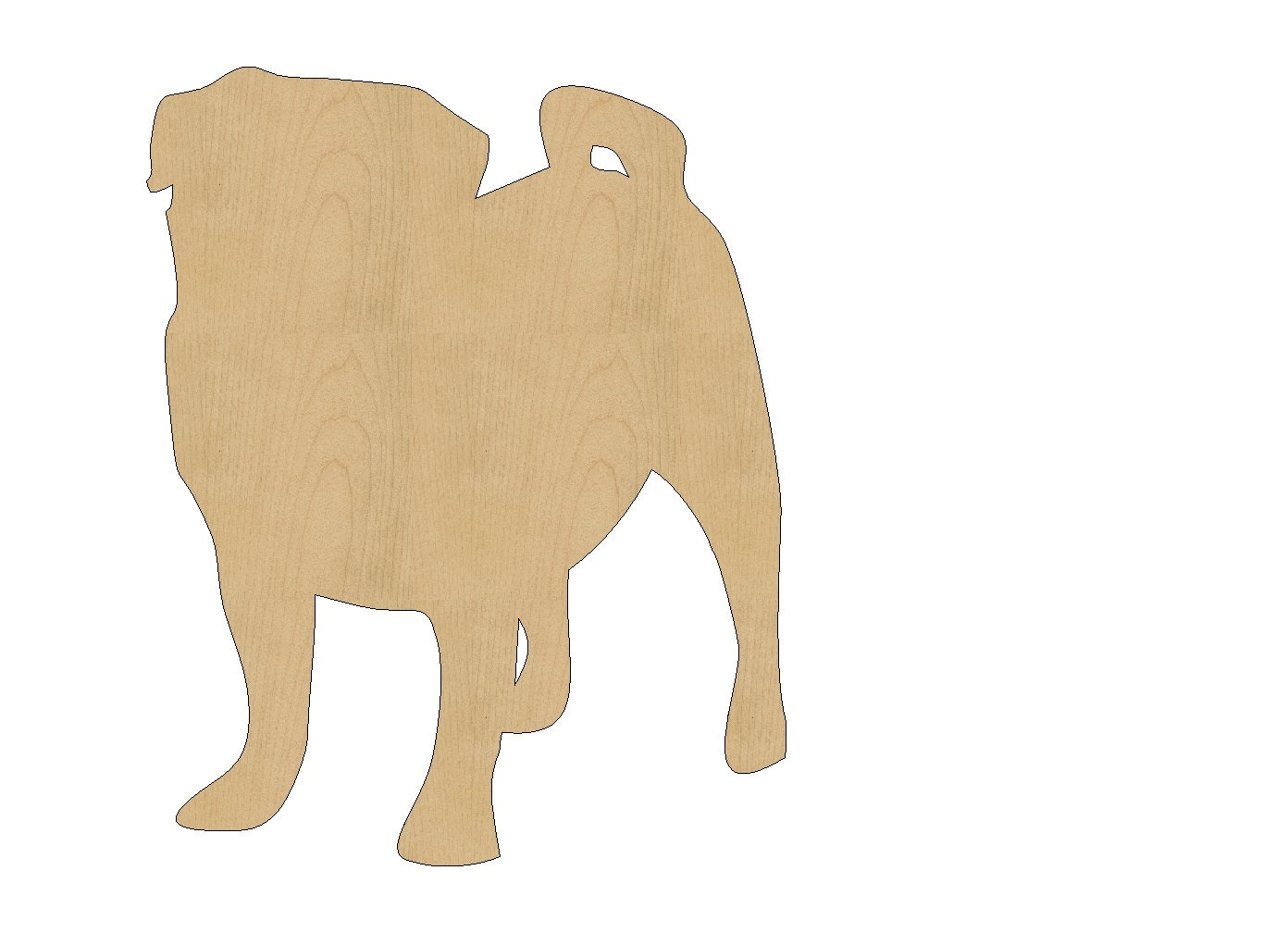 Wooden animals ornaments - Pug Dog Cutout Shape Laser Cut Unfinished Wood Shapes Craft Shapes Gift Tags