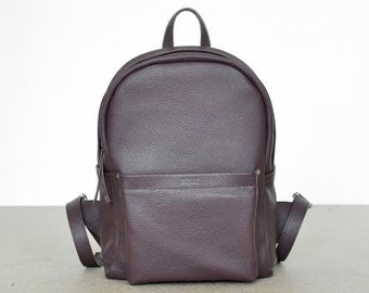 Vinous leather backpack - Carbon