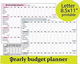 Budget Organizer, Yearly Budget, Budget Tracker,Finance Tracker- - Instant Download.