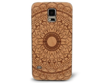 Laser Engraved Hand Drawn Floral Plumeria Mandala Doodle Inspired on Genuine Wood Cell phone Case for Galaxy S5, S6 and S6Edge S-014