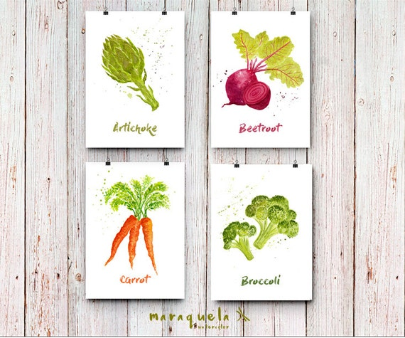 DISCOUNT SET Vegetables illustrations, watercolor.Kitchen decor, food Art Print dinning room, Collection. Poster, art for kitchen, artwall