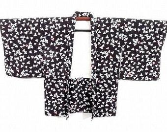 Genuine Vintage Japanese Black Silk Blend Kimono Haori Jacket 'Small Pastel Leaves' S/M (UK 8-12)