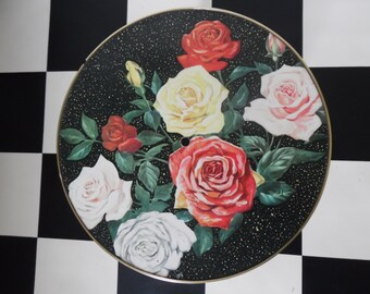 Mid century modern picture coffee table, rose design Formica, round - 1950's