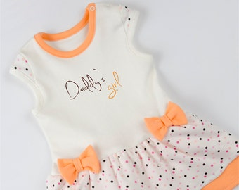 Baby Girl Bodysuit Dress, Daddy's Girl, Orange/Cream/Polka Dots Dress, Baby Girl Outfit, New Dad Gift, Baby Girl Clothes, New Daddy Gift